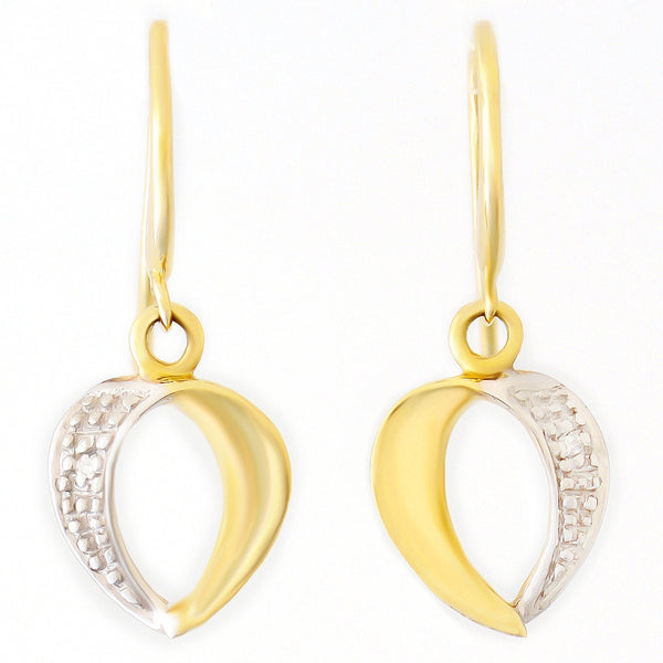 9K SOLID YELLOW GOLD HOOK EARRINGS WITH DIAMOND ACCENTS.