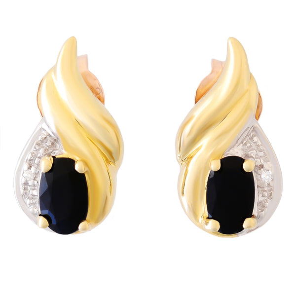 9K SOLID GOLD 0.80CT BLACK SAPPHIRE AND DIAMOND STUD EARRINGS.