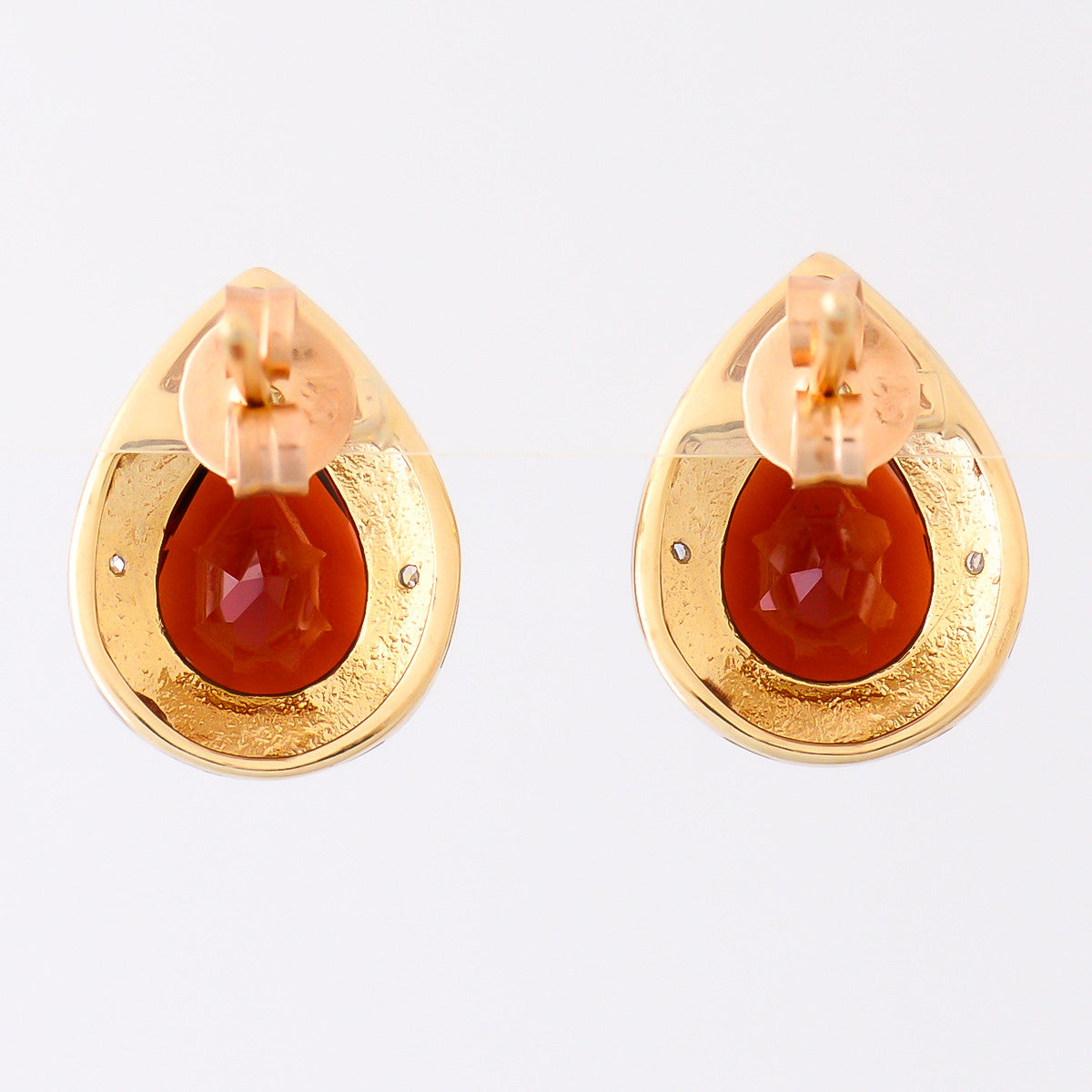 9K SOLID GOLD 4.30CT NATURAL PEAR CUT GARNET EARRINGS WITH EIGHT DIAMONDS.