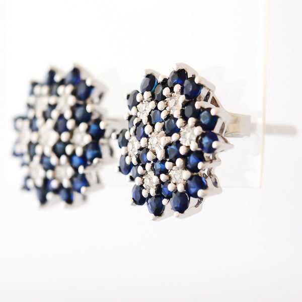 9K SOLID WHITE GOLD 1.30CT NATURAL SAPPHIRE CLUSTER EARRINGS WITH 14 DIAMONDS.