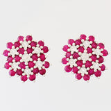 9K SOLID WHITE GOLD 1.20CT NATURAL RUBY CLUSTER EARRINGS WITH 14 DIAMONDS.