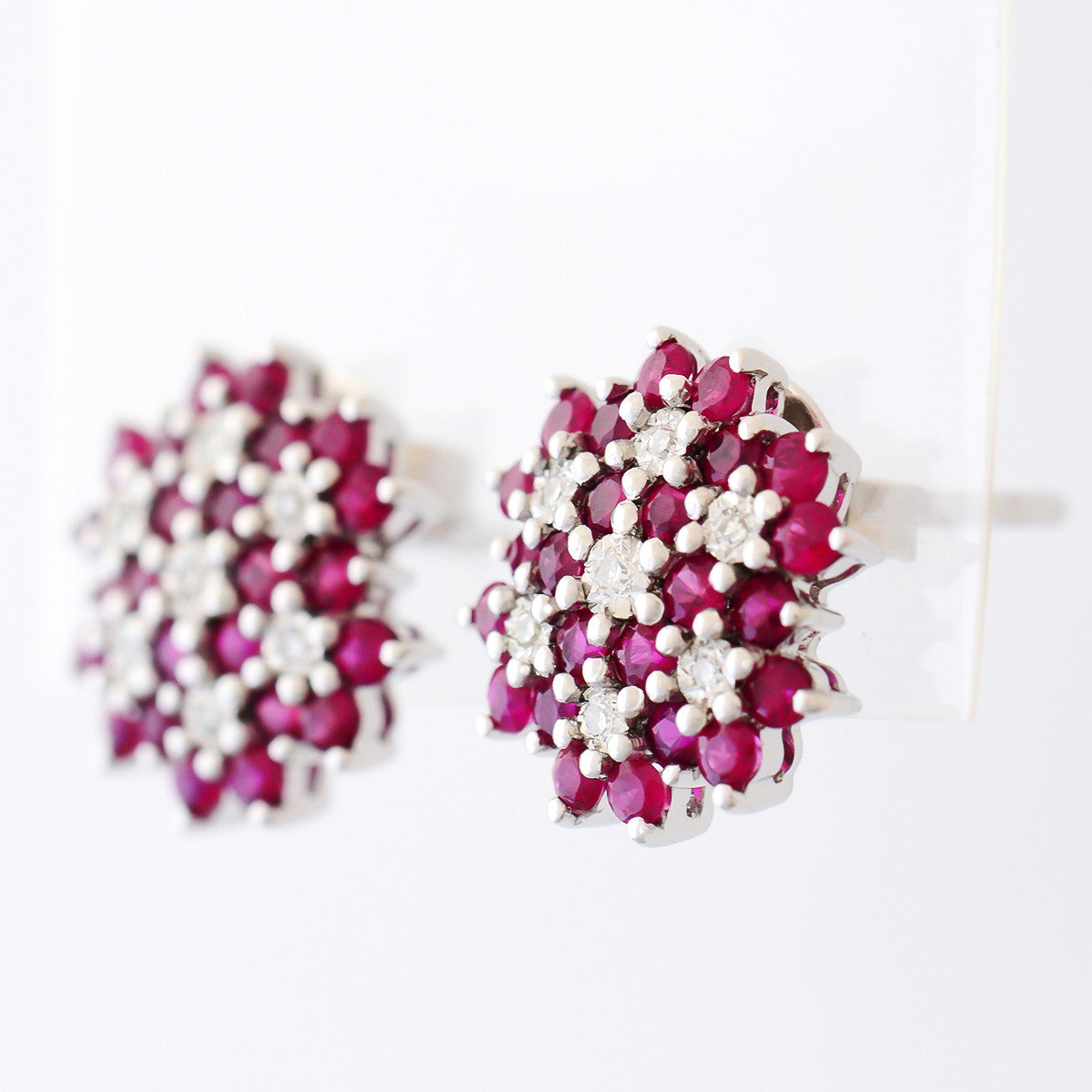 9k Solid White Gold 120ct Natural Ruby Cluster Earrings With 14 Diamonds