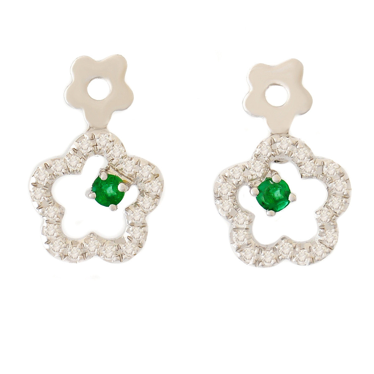 9K SOLID WHITE GOLD FLORAL INSPIRED NATURAL EMERALD EARRINGS WITH 40 DIAMONDS.