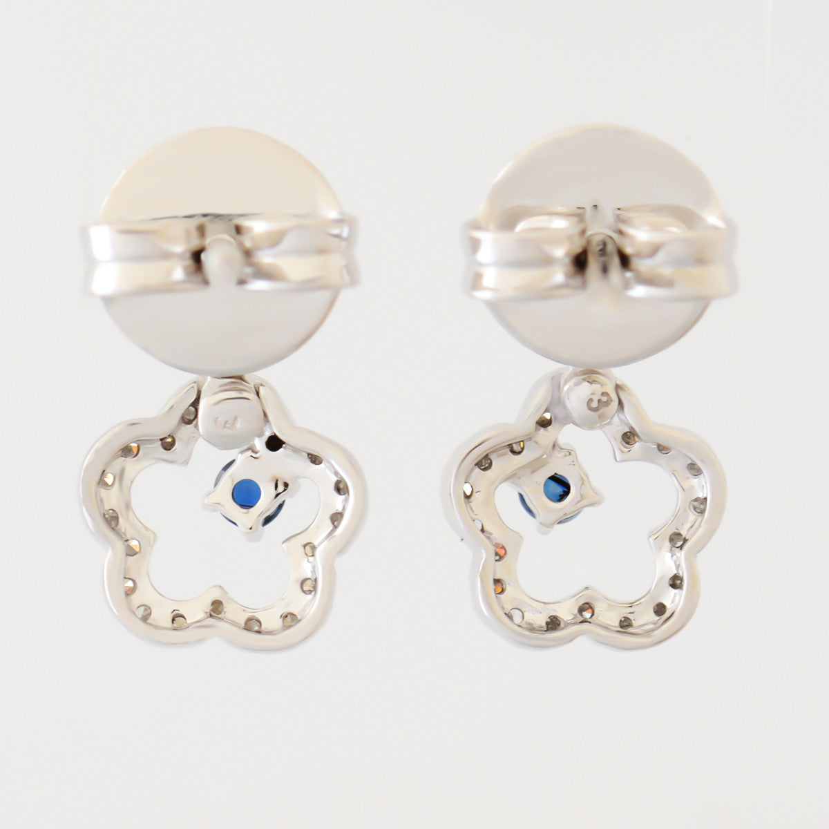 9K SOLID WHITE GOLD FLORAL INSPIRED NATURAL SAPPHIRE EARRINGS WITH 40 DIAMONDS.