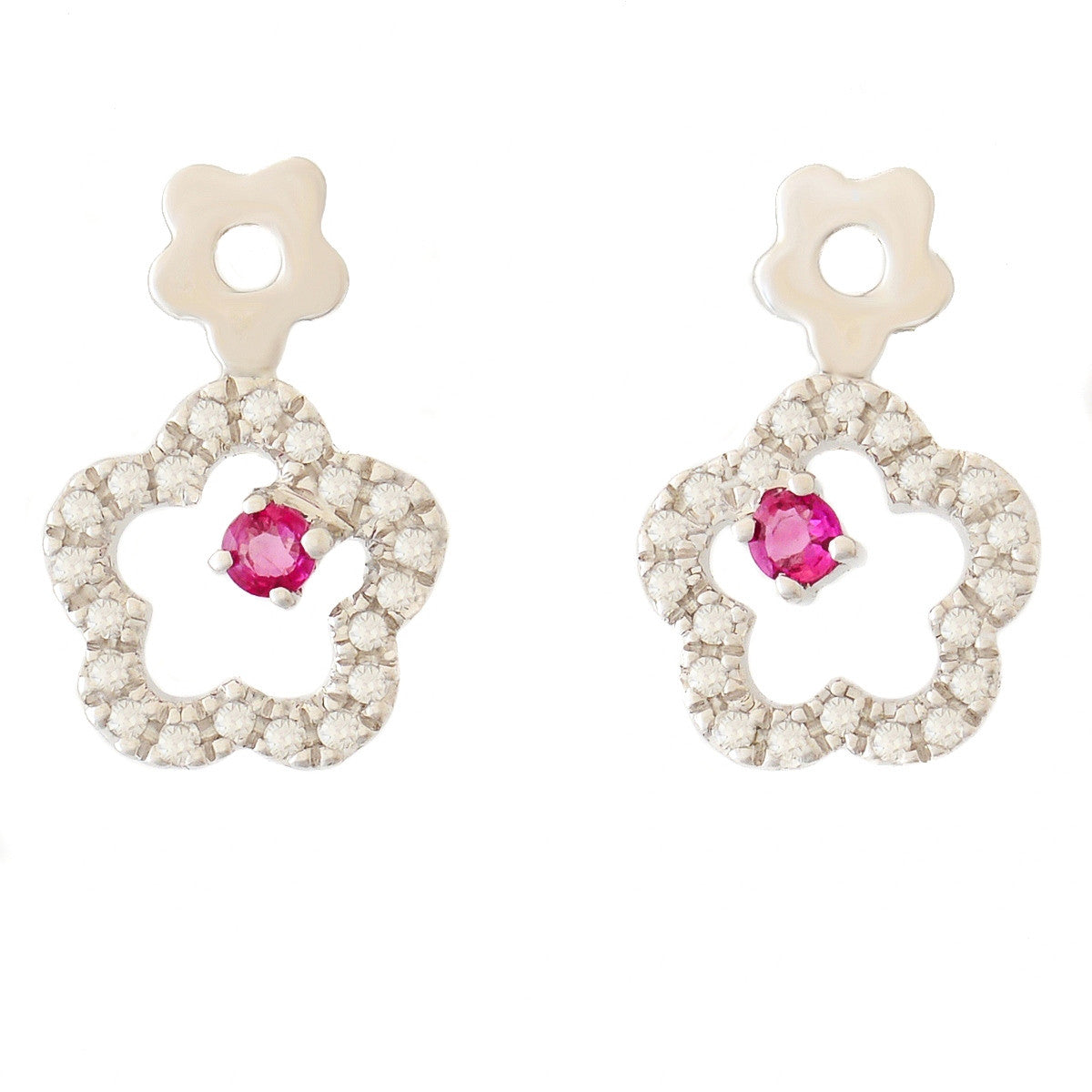 9K SOLID WHITE GOLD FLORAL INSPIRED NATURAL RUBY EARRINGS WITH 40 DIAMONDS.