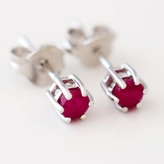 9K SOLID WHITE GOLD 0.30CT NATURAL RUBY CLASSIC STUD EARRINGS.