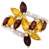 9K SOLID GOLD 2.10CT CITRINE & GARNET RETRO STYLE COCKTAIL RING WITH 4 DIAMONDS.