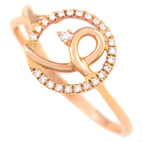 9K SOLID ROSE GOLD NATURAL DIAMOND HALO RING WITH 25 DIAMONDS.