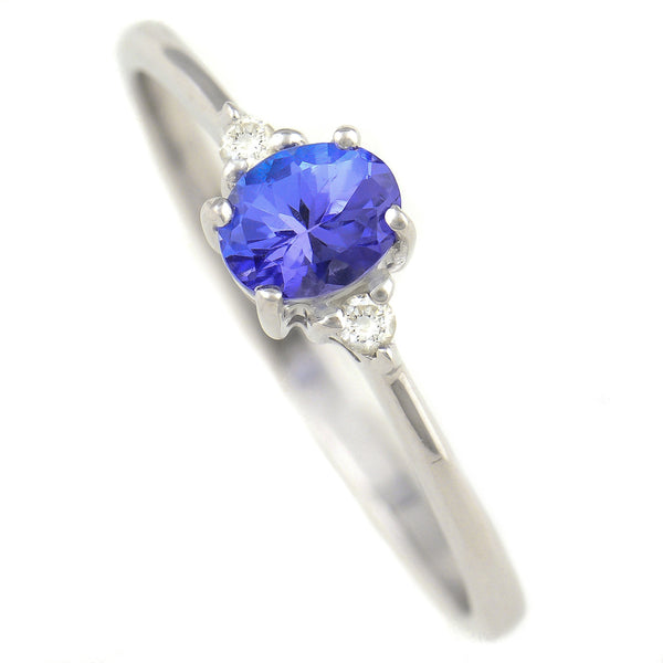 9K SOLID WHITE GOLD 0.30CT NATURAL OVAL TANZANITE RING WITH 2 DIAMONDS.