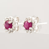 HANDMADE 9K SOLID GOLD 0.35CT NATURAL RUBY STUD EARRINGS WITH 24 DIAMONDS.