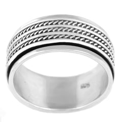 MEN'S GENUINE 925 STERLING SILVER WIDE SPINNER SPINNING ROTATING BAND RING.