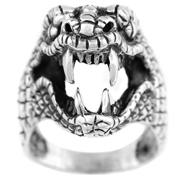 MEN'S GENUINE 925 STERLING SILVER COBRA SNAKE RING. LARGE HEAVY + IMPRESSIVE.