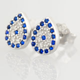 925 STERLING SILVER EVIL EYE PEAR SHAPE CRYSTAL STUD EARRINGS.