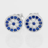 925 STERLING SILVER EVIL EYE MATI NAZAR ROUND KARMA CRYSTAL STUD EARRINGS.