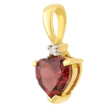 PETITE 9K SOLID YELLOW GOLD 0.50CT NATURAL HEART GARNET AND DIAMOND PENDANT.