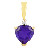 PETITE 9K SOLID YELLOW GOLD 0.50CT NATURAL HEART AMETHYST AND DIAMOND PENDANT.