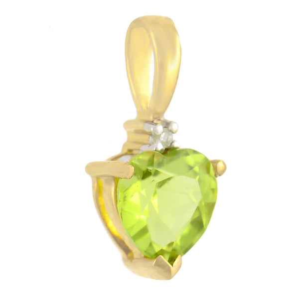 PETITE 9K SOLID YELLOW GOLD 0.50CT NATURAL HEART PERIDOT AND DIAMOND PENDANT.
