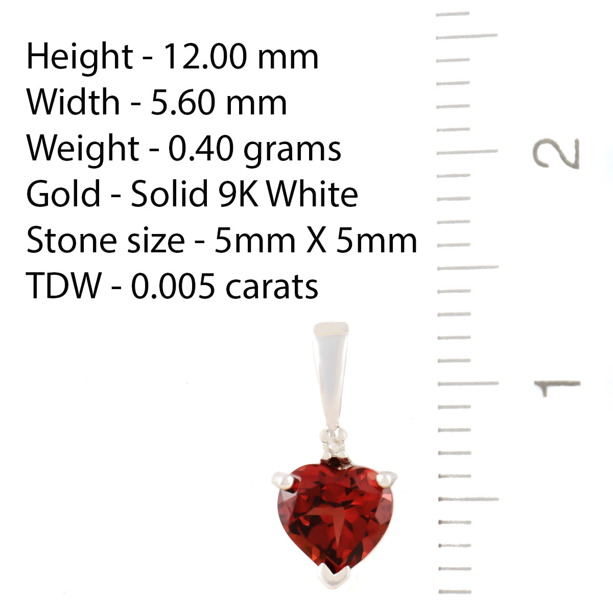 PETITE 9K SOLID WHITE GOLD 0.50CT NATURAL HEART GARNET AND DIAMOND PENDANT.