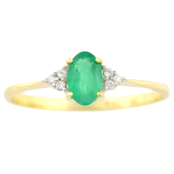 9K SOLID GOLD 0.50CT NATURAL OVAL EMERALD RING WITH 6 DIAMONDS.