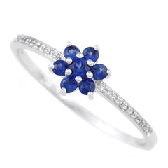 9K SOLID WHITE GOLD 0.30CT NATURAL BLUE SAPPHIRE FLORAL CLUSTER RING WITH 20 DIAMONDS.