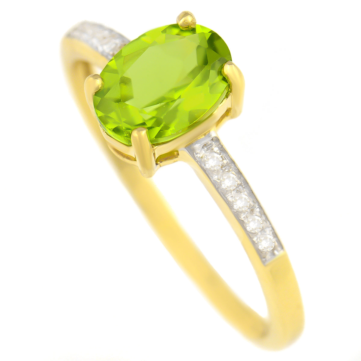 9K SOLID GOLD 1.30 CT NATURAL OVAL PERIDOT RING WITH 10 DIAMONDS.