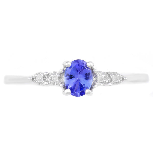 9K SOLID WHITE GOLD 0.33 CT NATURAL OVAL TANZANITE RING WITH 4 DIAMONDS.