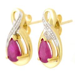 9K SOLID YELLOW GOLD 1.10CT NATURAL PEAR CUT RUBY EARRINGS WITH FOUR DIAMONDS.