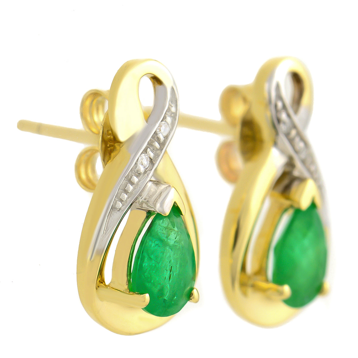 9K SOLID YELLOW GOLD 1.10CT NATURAL PEAR CUT EMERALD EARRINGS WITH FOUR DIAMONDS.