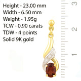 9K SOLID GOLD 0.90CT NATURAL ALMANDINE GARNET AND 6 DIAMOND DROP DANGLE EARRINGS.