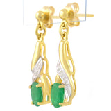 9K SOLID GOLD 0.90CT NATURAL EMERALD AND 6 DIAMOND DROP DANGLE EARRINGS.