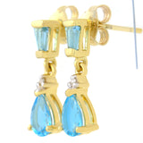 9K SOLID GOLD 1.20CT NATURAL SWISS BLUE TOPAZ AND DIAMOND DROP DANGLE EARRINGS.