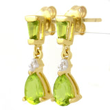 9K SOLID GOLD 1.20CT NATURAL BRIGHT PERIDOT AND DIAMOND DROP DANGLE EARRINGS.