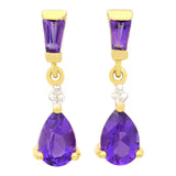 9K SOLID GOLD 1.20CT NATURAL PURPLE AMETHYST AND DIAMOND DROP DANGLE EARRINGS.
