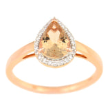 9K SOLID ROSE GOLD 0.90CT NATURAL PEAR MORGANITE HALO RING WITH 24 VS/G DIAMONDS.