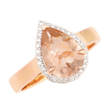 9K SOLID ROSE GOLD 1.75CT NATURAL PEAR MORGANITE HALO RING WITH 29 VS/G DIAMONDS.