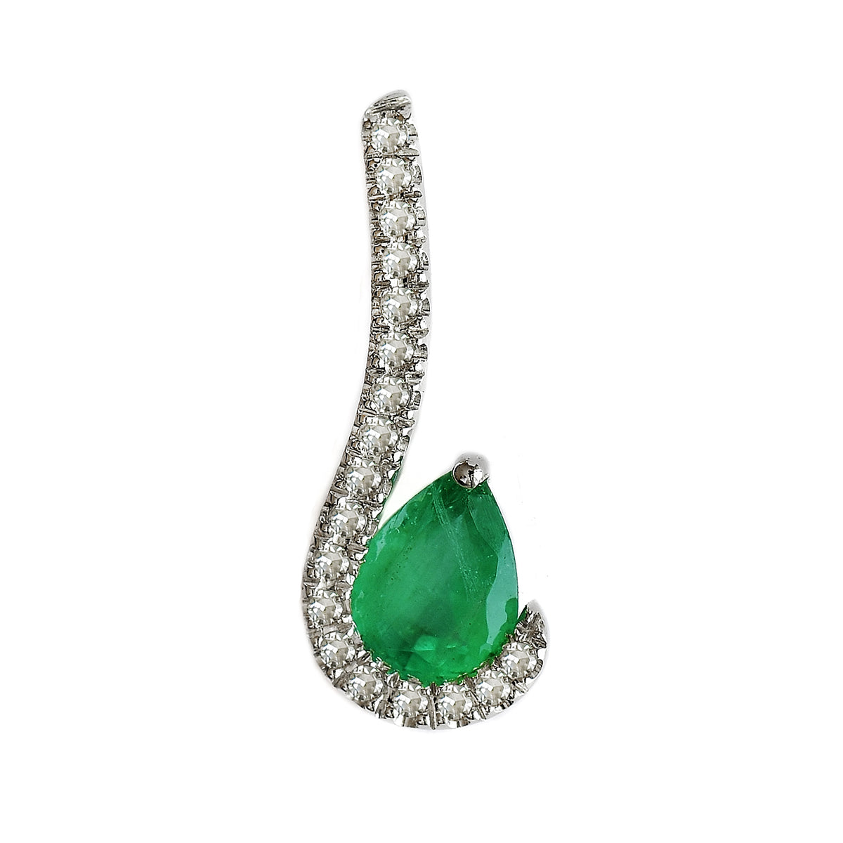 9K SOLID WHITE GOLD 0.30CT NATURAL PEAR EMERALD PENDANT WITH EIGHTEEN DIAMONDS.