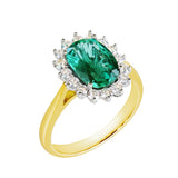 18K SOLID GOLD 2.30CT NATURAL OVAL EMERALD CLUSTER RING WITH 16 VS/G DIAMONDS.