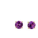 9K SOLID GOLD 1.20CT NATURAL PURPLE AMETHYST STUD EARRINGS.
