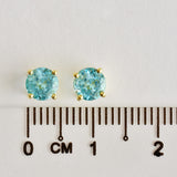 9K SOLID GOLD 1.20CT NATURAL SWISS BLUE TOPAZ STUD EARRINGS.