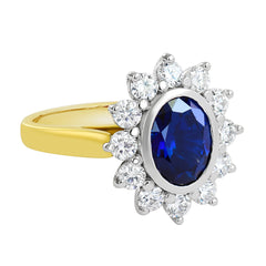 18K SOLID GOLD 2.35CT NATURAL AUSTRALIAN SAPPHIRE RING WITH 12 VS/G DIAMONDS.