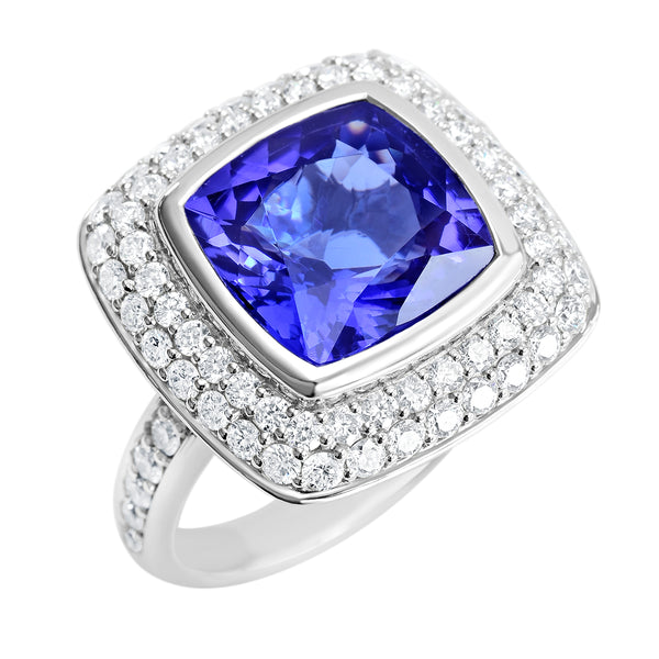 18K SOLID WHITE GOLD 6.52CT NATURAL TANZANITE RING WITH 68 VS/G DIAMONDS.