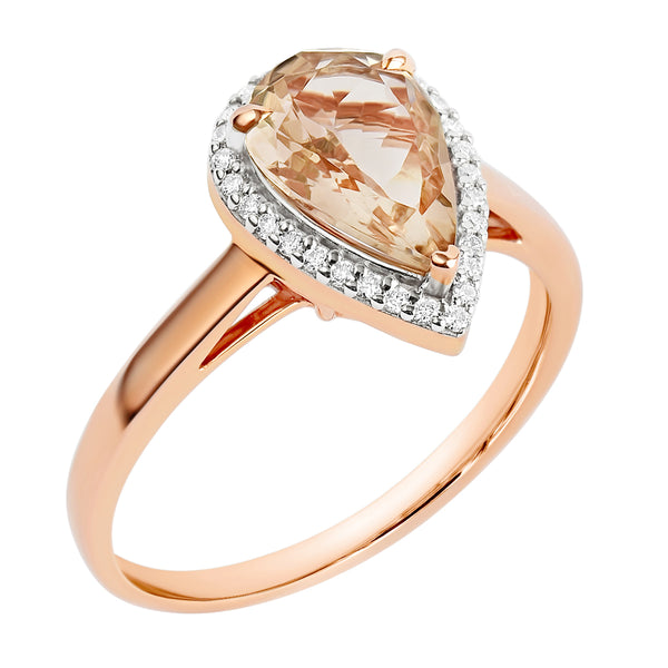 9K SOLID ROSE GOLD 1.28CT NATURAL PEAR MORGANITE HALO RING WITH 29 VS/G DIAMONDS.