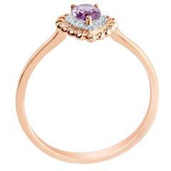 9K SOLID ROSE GOLD 0.40CT NATURAL PEAR CUT PURPLE AMETHYST WITH 16 DIAMONDS.