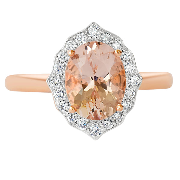 18K SOLID ROSE GOLD 1.80CT NATURAL OVAL MORGANITE HALO RING WITH 20 VS/G DIAMONDS.