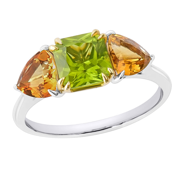 18K SOLID GOLD 1.80CT NATURAL ASSCHER PERIDOT AND TRILLIANT CITRINE RING.