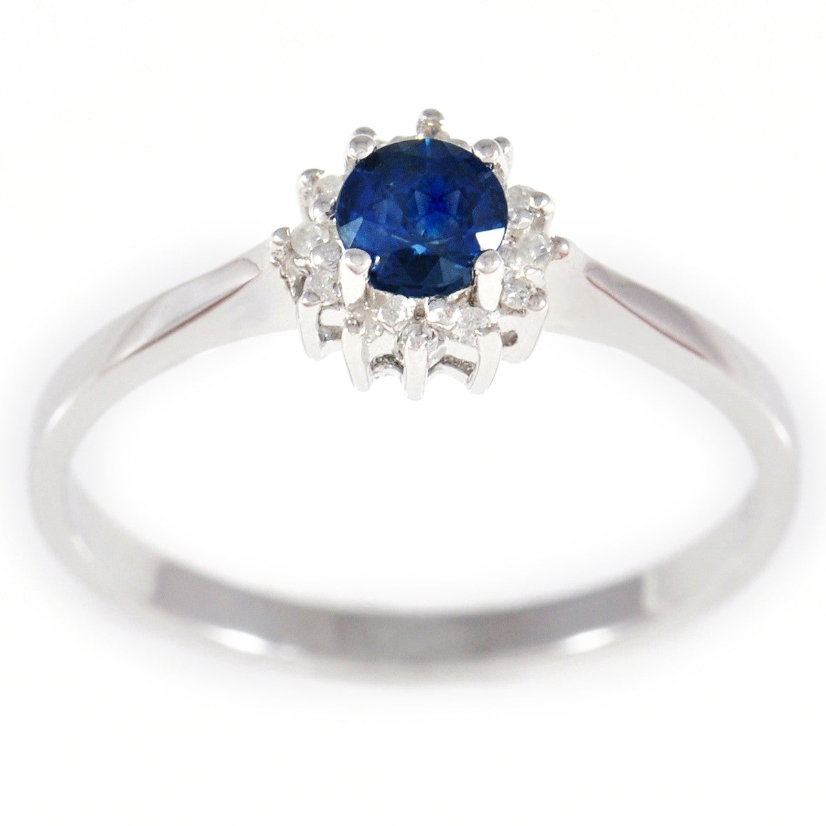 9K SOLID WHITE GOLD 0.40CT NATURAL SAPPHIRE HALO RING WITH 12 DIAMONDS.