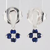9K SOLID WHITE GOLD 0.35CT NATURAL SAPPHIRE AND DIAMOND CLUSTER EARRINGS.