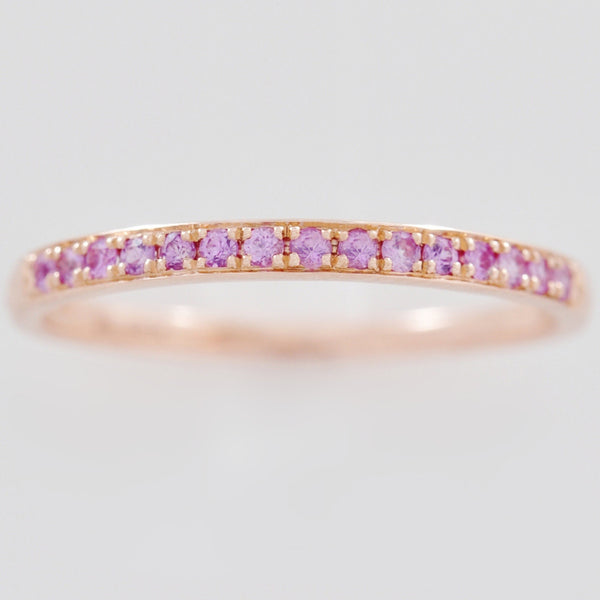 9K SOLID ROSE GOLD 0.20CT NATURAL PINK SAPPHIRE HALF ETERNITY BAND RING.