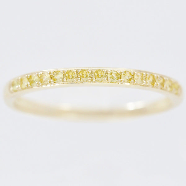 9K SOLID GOLD 0.20CT NATURAL YELLOW SAPPHIRE HALF ETERNITY BAND RING.