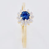 HANDMADE 9K SOLID GOLD 0.35CT NATURAL SAPPHIRE STARBURST RING WITH 6 DIAMONDS.